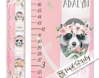 Canvas GROWTH CHART Pretty in Pink Floral Owl Raccoon and Fox Girls Bedroom Baby Nursery Wall Art GC0409