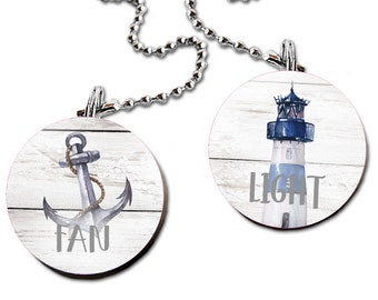 Blue and Grey Lighthouse and Anchor FAN PULLS FP0055