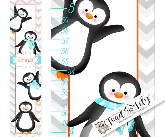 Canvas Growth Chart Aqua Orange Penguins Kids Bedroom Nursery Etsy