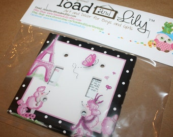 Ooh Lala Paris Poodle Girls Bedroom Double Light Switch Cover