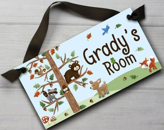 Woodland Friends Forest Animals Boys  Bedroom and Baby Nursery Kids Bedroom DOOR SIGN Wall Art DS0119