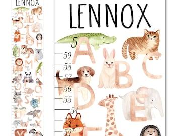 Canvas GROWTH CHART Watercolor A to Z Animal Alphabet Boys Girls Bedroom Kids Baby Nursery Wall Art GC0600