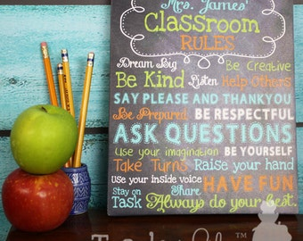 Teacher Chalkboard Classroom Rules CANVAS Teacher End of Year Christmas Present Gift TCS003