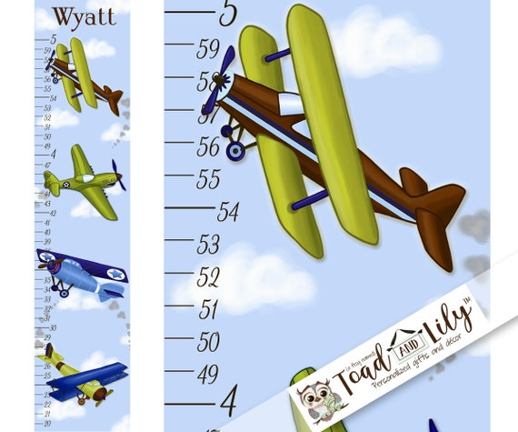 Canvas Growth Chart Aviator Planes Airplane Personalized Etsy