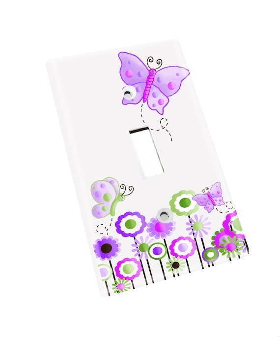 Pink and Purple Owls Girls Bedroom Light Switch Cover LS0044 Single Decora