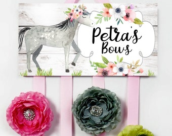 HAIR BOW HOLDER - Personalized Wild Floral Horses HairBow Holder - Bows Clippies Organizer -Hair Bow and Clip Hanger HB0350