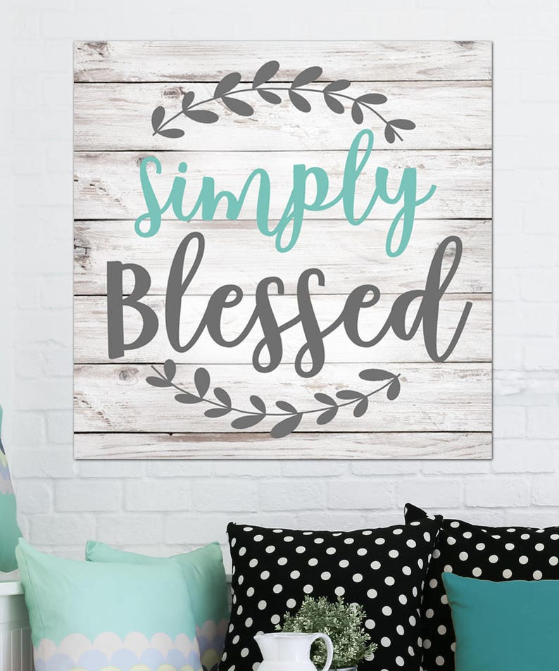 Simply Blessed Home Decor Calligraphy Meaning Stretched Canvas Etsy