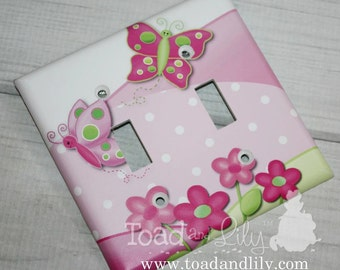 Pretty Butterfly Flowers Pink and Green Girl's Bedroom Double Light Switch Cover