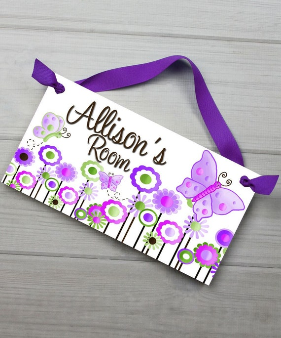 Girls Bedroom Lilac Butterfly Sparkly DOOR SIGN Wall Art