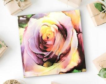 Rose Art Print - Canvas Art Print - Unique Gift for Women - Gift for Mom - Gift for Her - Rose Artwork - Flower Art - Shades of Mauve - 8x8