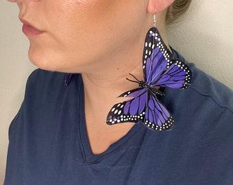 Indigo blue monarch butterfly earrings