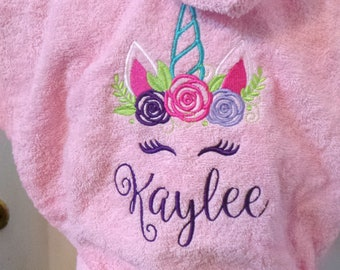 Unicorn robe Children s Kids Terry cloth Bathrobe Hooded Personalized with  name Embroidered. Pink or White Robe Very thick and cozy. 9c02247b9