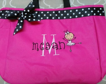 Ballet Bag with Ballerina, Name, Lg Initial Ribbon and Bow Personalized bag Lots of colors Embroidered Cute. Dance bag for little ones
