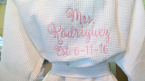 00c436918a Brides Robe Personalized Monogrammed robe with Mrs. Name on