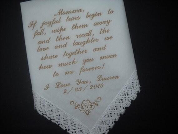 Wedding Handkerchief Hankie Mother Of The Bride Poem If Joyful Etsy