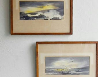 PLEIN AIR WATERCOLORS, Coastal Sunrise- Signed by E Ryan, American Watercolor Society Artist, Framed, Beach, Rocky Coast, Dawn