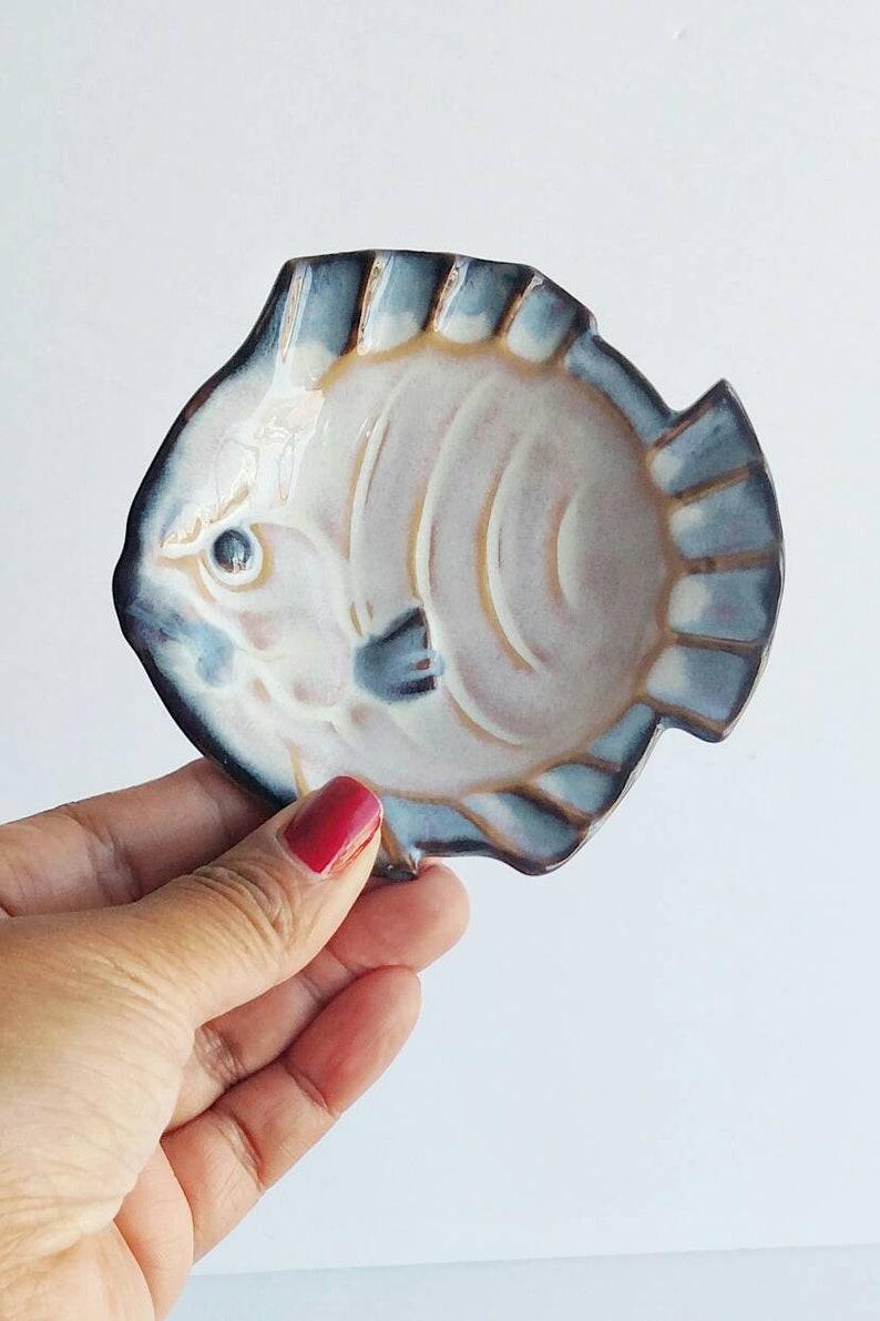 FISH ASHTRAY CERAMIC Bowl, Ring Bowl, Small Soap, Angry Fish, Pisces,  Jewelry Bowl, trinket, sage bowl, cone incense, Japanese made, Ashtray