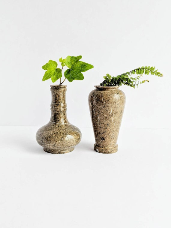 Pair Of Natural Marble Vases Set Of 2 Monochromatic Small Etsy