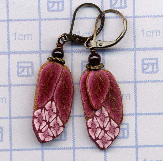 Cluster Flower Earrings Pink Polymer Clay