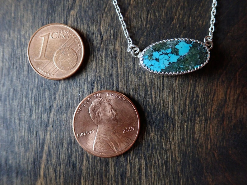 Long Oval Tibet Turquoise Gemstone Pendant Necklace Made from Recycled Sterling Silver