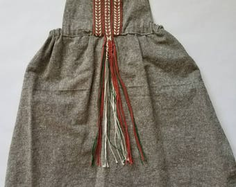 Olive Linen Girl's Dress 5T