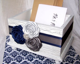 Wedding Card BOX / Rustic Card Box / White Card Box / Navy and Gray card Box / Navy Wedding / Blue and Silver / Wooden Card Box / Custom