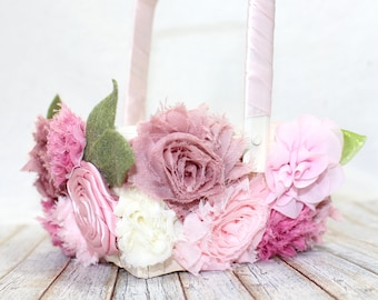 Flower Girl Basket / Pink Flower Girl Basket / Mauve Flower Girl Basket / Blush Flower Girl Basket / Flower Girl Basket covered in flowers