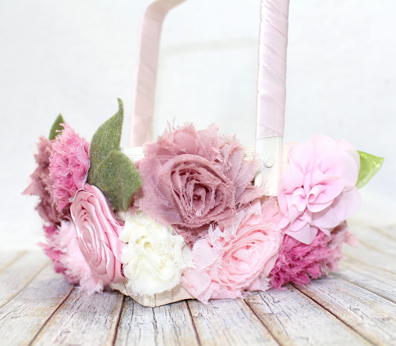 Flower Girl Basket / Pink Flower Girl Basket / Mauve Flower | Etsy