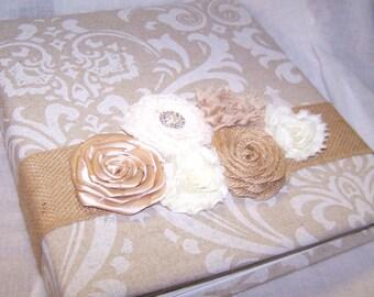 Wedding MEMORY Book / Wedding Scrapbook / Burlap Guest Book / Rustic Memory Book / Rustic Wedding / Tan Damask Fabric / Neutral guest book