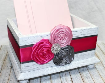 CARD BOX / Wedding Card Box / Pink and Gray Card Box / Rustic White Cad Box / Hot Pink and Fuchsia / Wooden Card Box / Card Box with Flowers