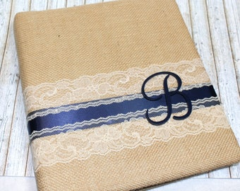 Burlap Guest Book / Navy Guest Book / Navy Wedding Guest Book / Guest Book with Monogram Letter / Photo Guest Book / Burlap Advice Book