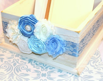 CARD BOX, Wedding Card Box, Dusty Blue Wedding, Ivory Lace, Rustic Ivory Box, Shabby Chic Flowers, Custom colors available