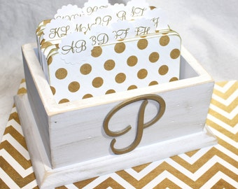 GUEST Book Box / Card Box / Advice Box and Cards / Gold Guest Book / Guest Box with Dividers / White Box / Box with Monogram / Polka Dots