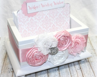 Pink Guest Book / Guest Box / Advice Box / Pink and White Guest Book / Advice Cards / Baby Shower Guest Book / Bridal Shower / White Box