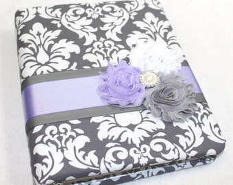 BABY Shower Guest Book - Guest Book -  Lavender Guest Book - Purple and Gray Baby Shower - Baby Girl Shower Decor - Gray Damask Guest Book