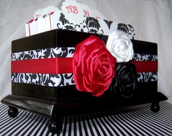 Guest Book Box - Black and White Damask and Red, Custom stains and colors available