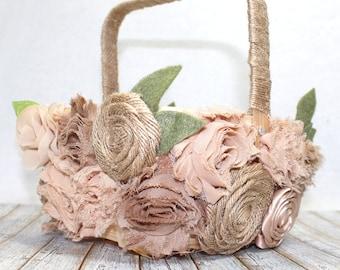 Flower Girl Basket / Rustic Flower Girl Basket / Burlap Flower Girl Basket / Flower Girl Basket covered in flowers / Natural Flower Basket