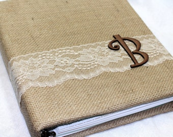 Wedding MEMORY Book / Rustic Wedding Album / Burlap and Lace / Neutral Wedding Guest Book / Fall / Autumn / Brown / Gold / Personalized