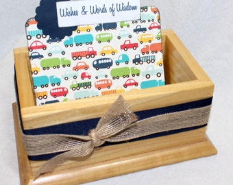 Baby Boy Baby Shower Guest Book / Baby Shower Guest Box / Card Box / Car theme baby shower / Truck theme baby shower / Navy Blue and Red