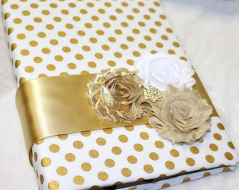 Bridal Shower Guest Book / Gold Guest Book / Gold Polka Dots Guest Bok / Advice Book / Gold Polka Dots Decor / Metallic gold / Personalized