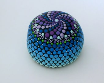 SHIPS FREE-Mandala stones round painted fossil rock unique ooak Zen dot art home decor ombre blue teal ultra violet spiral neon glow in dark