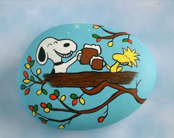 Snoopy Woodstock Oktoberfest social distancing tree top brew pub hand painted rocks gift under 30 collectible ooak 3D art napkin paperweight