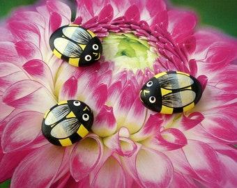 SHIPS FREE-painted rocks Bumble bee summer whimsical garden decor fairy garden accessory yellow black honey bee ooak stone art birthday gift