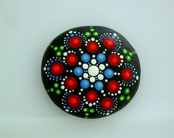 Patriotic star red white blue mandala stones painted rocks boho chic ooak 3D dot art autumn gift ideas for yoga teacher napkin weights bbq