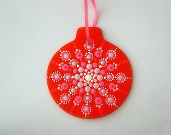 """Christmas tree ornaments painted both sides mandala red pink 3.50"""" round disc ships FREE FREE gift box wood holiday decorations rockartiste"""