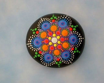 Mandala stones Etsy painted rocks unique ooak 3D glossy dot art therapy stone vibrant pink orange yellow blue summer gift ideas house sitter