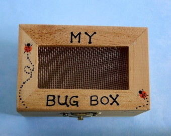 DIY science kit-My wooden bug box toy-personalize-bug collecting-camping-outdoor car trip-adventure game-children game-entomology-SHIPS FREE