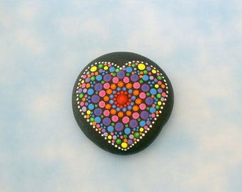 Mandala heart stone-painted rocks-Holiday gift ideas electric neon rainbow pointillism aboriginal dot art tribal yoga Zen chakra rockartiste
