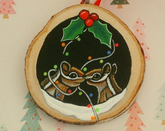 Chipmunks in a tree-Christmas tree ornament-FREE ship & FREE gift box-hand painted-rustic-ooak 3D holiday wall decoration-personalize this