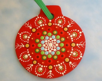 """Christmas tree ornament personalize this red Mandala snowflake home & living 3.5"""" wall decor wall hanging gift ideas under 30"""